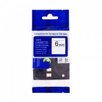 PRINTLINE kompatibilní páska s Brother TZE-FX611,6mm, černý tisk/žlutý podklad, flexibilní