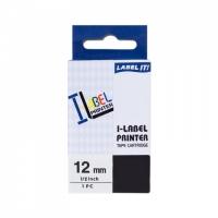 PRINTLINE kompatibilní páska s Casio XR-12WE1 12mm, 8m, černý tisk/bílý podklad