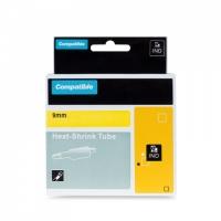 PRINTLINE kompatibilní páska s DYMO 18054, 9mm, 1,5m, černý tisk/žlutý p., RHINO, bužírka
