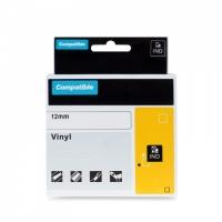 PRINTLINE kompatibilní  páska s DYMO 1805435, 12mm, 5.5m, bílý tisk/černý p. RHINO vinyl.