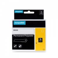 PRINTLINE kompatibilní páska s DYMO 1734523, 24mm, 5.5m, černý tisk/bílý p, RHINO, polyes.
