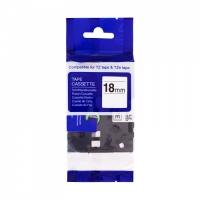 PRINTLINE kompatibilní páska s Brother HSe-241, 18mm, černý tisk/ bílý podklad, bužírka
