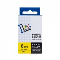 PRINTLINE kompatibilní páska  s Casio XR-6YW1 6mm, 8m, černý tisk/žlutý podklad