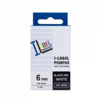 PRINTLINE kompatibilní páska s Casio, XR-6WE1, 6mm, 8m, černý tisk/bílý podklad