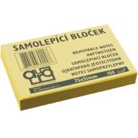 Samolepící bloček - 75x50 mm, 100 listů, žlutý