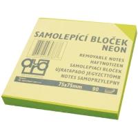 Samolepící bloček - 75x75 mm, 100 listů, neon zelený