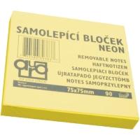 Samolepící bloček - 75x75 mm, 100 listů, neon žlutý