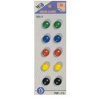 Plastové magnety - průměr 15 mm, mix barev, 10 ks