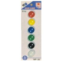 Plastové magnety - průměr 20 mm, mix barev, 6 ks