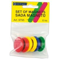 Plastové magnety Centropen 9795/6 - průměr 28 mm, mix barev, 6 ks