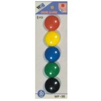 Plastové magnety - průměr 30 mm, mix barev, 5 ks