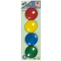 Plastové magnety - průměr 40 mm, mix barev, 4 ks