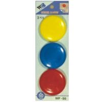Plastové magnety - průměr 50 mm, mix barev, 3 ks