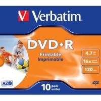 DVD+R Verbatim 10 pack - přepisovatelné, 16x, 4,7 GB, 10 ks