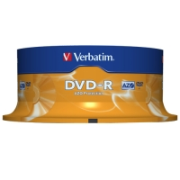 DVD-R Verbatim AZO 4,7 GB - 16x, potisknutelné, cake box, 25-pack