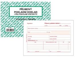 Příjmový pokladní doklad PT 030 - i podvojné účetnictví, propisující, A6, 50 listů