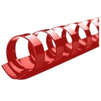 Kroužkový hřbet - 14 mm, plastový, červený, 100 ks