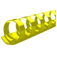 Kroužkový hřbet - 14 mm, plastový, žlutý, 100 ks