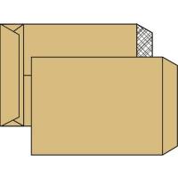 Poštovní taška B4 - textilní výztuž, křížové dno, bez okénka, krycí páska, 353x250x40 mm, hnědá, 1 ks