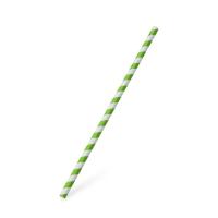 Papírové brčko Jumbo - 25 cm x 8 mm, bílé, zelená spirála, 100 ks