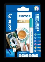 Dekorační popisovač Pilot Pintor Metal 4074/S6 - 1 mm, sada 6 ks