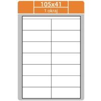 Samolepící etikety - 105x41 mm, bílé, okraj, 100 archů