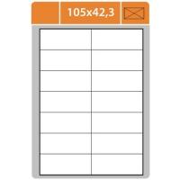 Samolepicí etikety Print - 105x42,3 mm, papírové, bílé, 100 archů