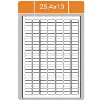Samolepicí etikety Print - 25,4x10 mm, papírové, bílé, 100 archů