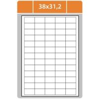 Samolepící etikety - 38x21,2 mm, bílé, 100 archů