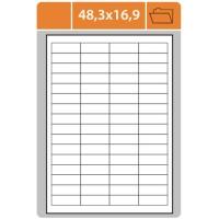 Samolepicí etikety - 48,3x16,9 mm, papírové, bílé, 100 archů