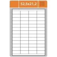 Samolepící etikety - 52,5x21,2 mm, bílé, 100 archů