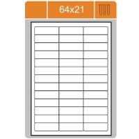 Samolepicí etikety Print - 64x21 mm, papírové, bílé, 100 archů