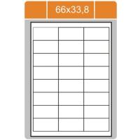 Samolepicí etikety Print - 66x33,8 mm, papírové, bílé, 100 archů