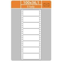 Tabelační etikety (EVP) - 100x36,1 mm, jednořadé, bílé, malé balení, 25 archů