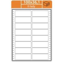 Tabelační etikety (EVP) - 100x36,1 mm, dvouřadé, bílé, malé balení, 25 archů