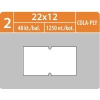 Značkovací etikety do etiketovacích kleští (EZ) - COLA-PLY, 22x12 mm, bílé, 1250 etiket