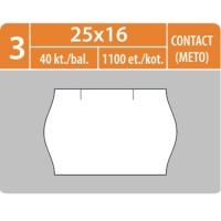Značkovací etikety do etiketovacích kleští (EZ) - CONTACT (METTO), 25x16 mm, bílé, 1100 etiket