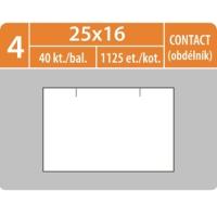 Značkovací etikety do etiketovacích kleští (EZ) - CONTACT (obdélník), 25x16 mm, bílé, 1125 etiket
