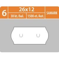 Značkovací etikety do etiketovacích kleští (EZ) - SAMARK, 26x12 mm, bílé, 1500 etiket