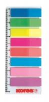 Samolepící záložky na pravítku Kores Index Strips - 45x12 mm, plastové, 8x25 listů, neon, 8 barev