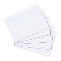 Karty do kartotéky A6 - linkované, bílé, 100 listů