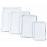 Papírové tácky Classic č.3 - 11x17 cm, bílé, 250 ks