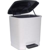 Pedálový odpadkový koš Goliáš 15 l - s vložkou, plastový, bílý