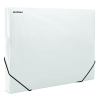 Box na spisy A4 Donau - s gumou, plastový, transparentní bílý