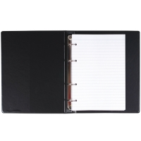 Kroužkový zápisník A4 Karis - imitace kůže, bez registru, 100 linkovaných listů, černý