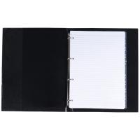 Kroužkový zápisník A4 Karis - imitace kůže, s registrem, 100 linkovaných listů, černý