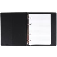 Kroužkový zápisník A5 Karis - imitace kůže, bez registru, 100 linkovaných listů, černý