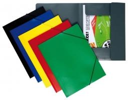 Spisové desky s gumou A4 - 3 klopy, plastové, černé - DOPRODEJ