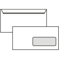 Poštovní obálka DL - s okénkem, krycí páska, 110x220 mm, bílá, 1000 ks