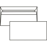 Poštovní obálka DL - bez okénka, samolepící, 110x220 mm, bílá, 50 ks